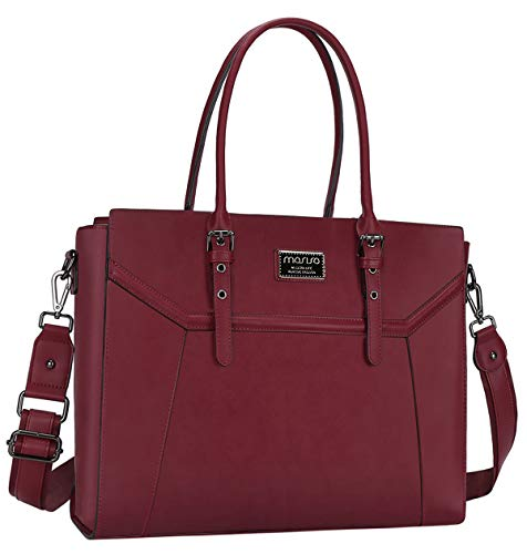 MOSISO Laptop Tote Bag (up to 15.6 Inch),Premium PU Leather Business Work Travel Shoulder Handbag with Thick Shockproof Compartment&Adjustable Top Handle Compatible with MacBook&Notebook,Wine Red