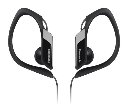 Panasonic Sports Clip Earbud Headphones RP-HS34-K (Black) Water Resistant, Tough, Durable, Adjustable Ear Clip, Ultra Light