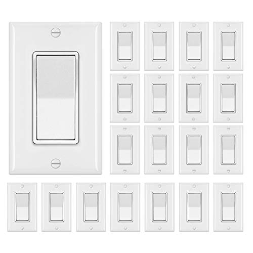 [20 Pack] BESTTEN Single Pole Decorator Wall Light Switch with Wallplate, 15A 120/277V, On/Off Rocker Paddle Interrupter, UL Listed, White