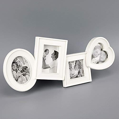 RasmussOn Multi Picture Photo Collage Frame - Best Decorative Display at Home, Office, Reception - Beautiful Gallery Style Display of Photos, Graphic Text, Art for Table, Shelf, Window (White)