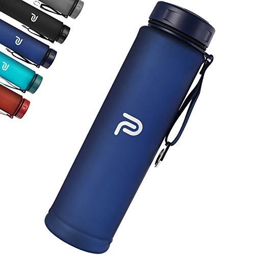PLAUSO – Borraccia da 1 l a prova di perdite, senza BPA, indicazione del tempo, adatta per bevande addizionate di anidride carbonica, in tritan, 1000 ml, per sport, fitness e ufficio (blu mezzanotte)