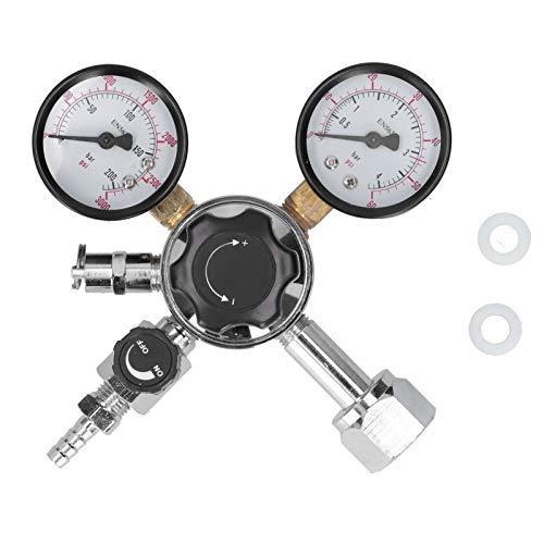 Regulador de barril de cerveza CO2, conexión CGA-320 Regulador de CO2 Válvula reductora de presión de barril de cerveza con válvula de alivio de presión de seguridad para Homebrew 0-60PSI 0-3000PSI