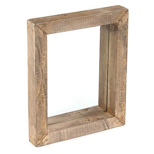 DESIGN DELIGHTS RUSTIKALER WANDSPIEGEL Rustique | 50x40x7 cm (BxHxT), Recyclingholz | Holzspiegel mit Rahmen, Flurspiegel, Wand Garderobenspiegel