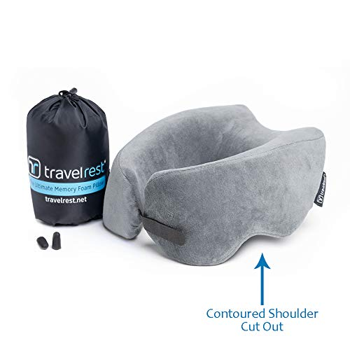 Travelrest Patented Ultimate Memory Foam Travel Pillow/Neck Pillow - Washable Cover - Voted Best Travel Pillow for 2019 by Wirecutter - Compresses to 1/4 of its Size (2 Year Warranty) (Grey)