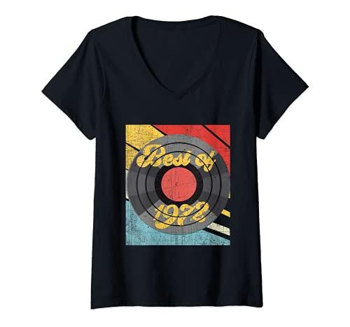 Mujer Vintage lo mejor de 1972 álbum de récord 49 cumpleaños angus Camiseta Cuello V