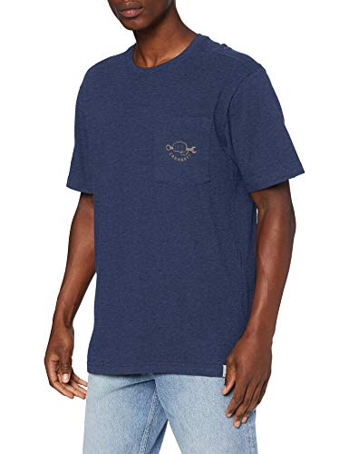 Carhartt Maddock Strong Graphic Pocket Short-Sleeve T-Shirt, Indigo Heather, XS Uomo