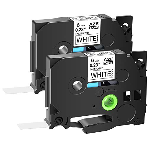 """GREENCYCLE 2-Pack Compatible for Brother P Touch 1/4"""" 0.23"""" x 26.2ft Black on White AZE 211 TZe-211 TZe211 TZ211 Standard Laminated Label Tape for PT-D210 PTD400AD PT1230 PTH110 PT Cube Labeler"""