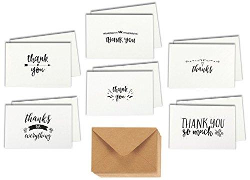 Surtido de 48 tarjetas de agradecimiento con impresión en cartulina por un solo lado. Incluye 6 diseños diferentes con sobres de papel kraft, 10,2 x 15,2 cm