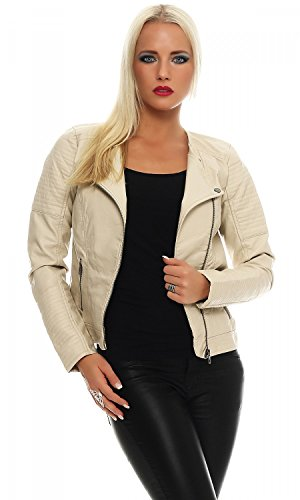 ONLY Damen onlCARLY Faux Leather Jacket CC OTW Jacke, Beige (Peyote), 38