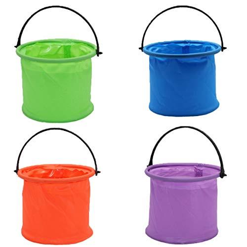 Counius 4 Cubo Plegable Cubeta Agua portátil Multiuso 1,8 L Cubo Pesca con Compartimento para Vacaciones, Jardín, Exterior, Pesca y Camping