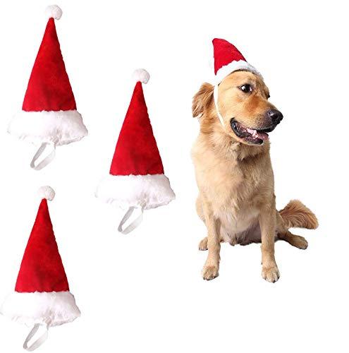 Pack 3 Gorros Pequeños de Papá Noel para Perros y Gatos Disfraz de Navidad de Mascotas ✅