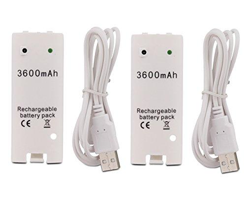 Fosmon® (2 PAQUETE) Nintendo Wii Mando a distancia de alta capacidad de 3600mAh reemplazo del Li-ion recargable Batería con cuerda de carga del cable para Nintendo Wii Controller (Blanco) - Fosmon Empaquetado Al Por Menor