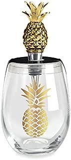 Wild Eye Designs Stemless Wine Glass & Stopper Set, Gold Pineapple