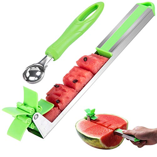 Anksono Stainless Steel Watermelon Windmill Cutter, Watermelon Cubes Slicer, Melon Knife Corer Fruit Vegetable Tools Kitchen Gadgets