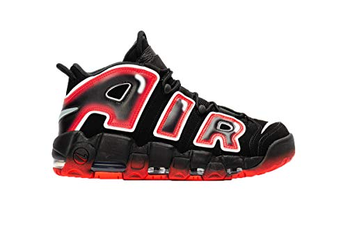 Nike Air More Uptempo 96 Hombre Basketball Trainers CJ6129 Sneakers Zapatos (UK 7.5 US 8.5 EU 42, Black White Laser Crimson 001)