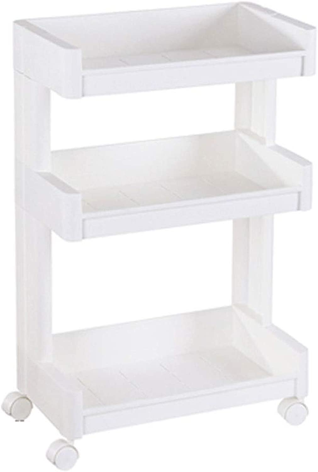 JUCAIYUAN Bathroom Shelf Rust-Proof White Shelf Bathroom Kitchen Two-Story Three-Story Bedroom (with Wheel) (Design   Three Floors, Size   45cmX46.8cmX26cm)