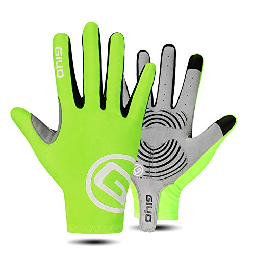 Mdsfe Cycling Gloves Half Full Finger Gel Sports Racing Men Women's Bike Glove Road Bike Gloves MTB Bicycle Gloves - Green Full Finger,M