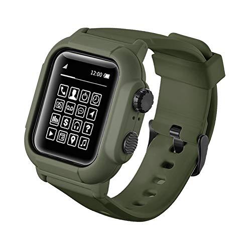 Qianyou Kompatibel mit Apple Watch 38mm Series 3/2/1 Armband Wasserdicht mit Hülle, [IP68] Ersatzband Schutzhülle Integrated PC+TPU Sport Vollschutz Uhrenarmband für Schwimmen Tauchen, Grün