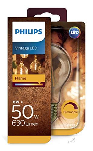 Philips LEDclassic Lampe Gold, Vintage Retro-Design ersetzt 50W, E27, Flame(2200 Kelvin), 630 Lumen, Dekolampe, dimmbar