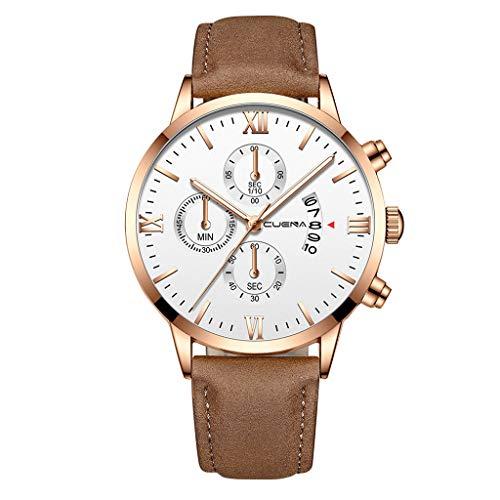 Armbanduhr Fghyh Mode Uhren Männer Lederarmband Quarz-Armbanduhr(M)