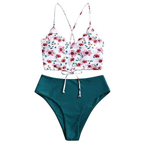 ZAFUL Women's Scalloped Textured Swimwear High Waisted Wide Strap Adjustable Back Lace-up Bikini Set Swimsuit Light Pink XL