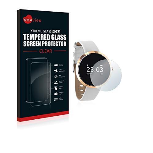 Savvies Panzerglas kompatibel mit Xlyne X-Watch Siona - Echt-Glas, 9H Härte, Anti-Fingerprint