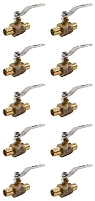 """(pack of 10) 3/4 """" PEX Brass Ball Valve)- Full Port- Standard Crimp Ends-LEAD FREE- 2pc design, blowout proof stem. 100% leak tested, heavy duty from Jomar"""