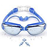 Sportout Schwimmbrille, gespiegelte Schwimmbrille, Keine auslaufende Anti-Beschlag UV-Schutzbrille, mit Nasenclip, Ohrstöpsel und Schutzhülle, für Männer, Frauen, Jugendliche und ältere Kinder (Blau)