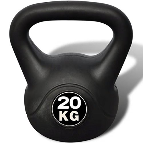 Tidyard Kettlebell Fitness Palestra Professionale in Cemento con Rivestimento in Plastica 20 kg 25x25x36 cm,Kettlebell 20 kg