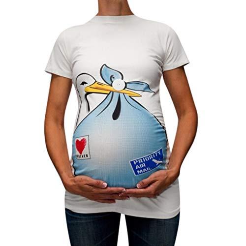 SUCES Mutterschaft T-Shirt Damen Sommer Kurzarm Umstandsmode T-Shirts Lustige Witzig Gedruckt Umstandsshirt Baumwolle Tops Oberteil für Schwangere