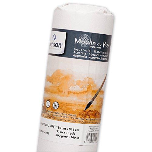 Canson Moulin du Roy - Rollo papel de acuarela, 1.30 x 9.15m, color blanco natural