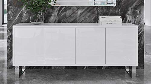 Zuri Furniture Modern Neve Sideboard in White High Gloss Lacquer with Polished Stainless Steel Legs