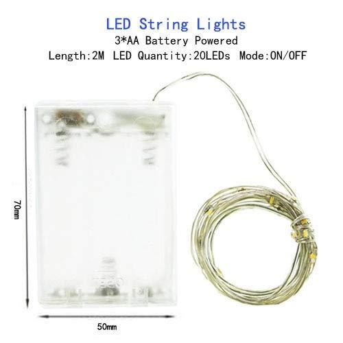 8 Modos de Control Remoto Luces LED de Hadas con Pilas Luces de Cadena Impermeables al Aire Libre para la decoración de la Fiesta de Navidad de la Boda - batería AA-2M, Blanco