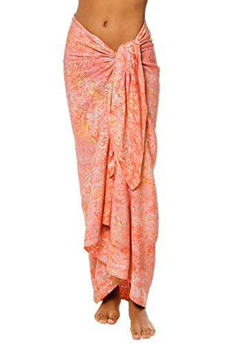Treasures of Bali Women's Coral Tie Dye Cover Pareo Swim Cover Up Orange One
