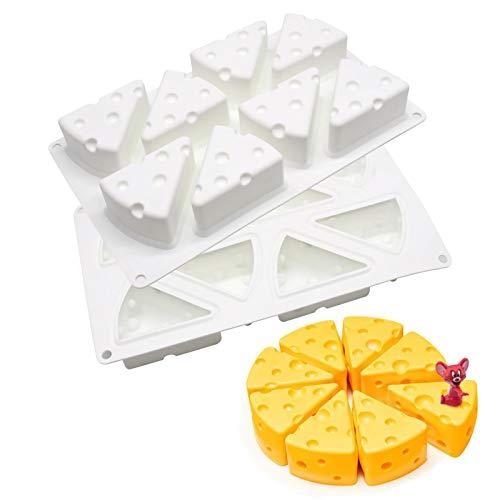 xiaomomo521 Molde De Queso De Dibujos Animados 3D, Moldes para Hornear Pasteles De Queso De Silicona Antiadherentes De 8 Agujeros, Molde De Mousse De Silicona con Forma De Queso 3D 225g