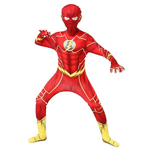 WQLESO Costume Cosplay per Bambini Flash Cosplay per Adulti Set Zentai Halloween Classic Fancy Dress Show Body Tuta,Flash-95~115cm