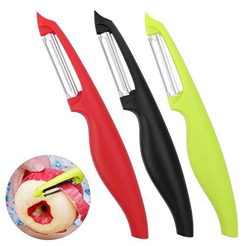 Sparschäler Obstschäler Universalschäler mit Stainless Blade, Rechts-und Linkshänder bunt gemischt Set, für Gemüse und Obst Gemüseschäler, 3 Stück