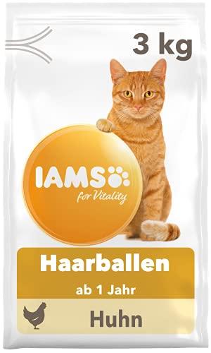 IAMS for Vitality Anti-Haarballen Katzenfutter trocken - Trockenfutter für Katzen ab 1 Jahr, 3 kg