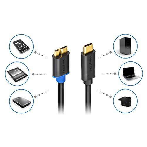 deleyCON 2m USB 3.0 Kabel - Stecker Typ 3.1 - USB C auf Micro USB - 5 Gbit/s Ladekabel Datenkabel für z.B. Smartphone Tablet Notebook Ladegerät - Schwarz