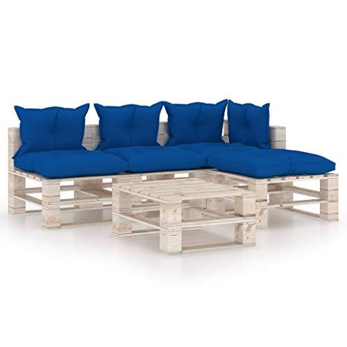 vidaXL Madera Pino Juego de Muebles de Jardín de Palets 5 Piezas Cojines Mobiliario Hogar Exterior Terraza Sofá Asiento Mesa con Respaldo Suave