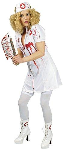 K31250569-44-46 - Disfraz de enfermera zombi para mujer, talla 44-46, color blanco y rojo