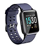 ANGGO Reloj Inteligente Mujer Hombre Smartwatch Niño Niña 5ATM Impermeable Pantalla Táctil Completa Reloj de Fitness con Monitore de activida, Pulsómetro, iOS Android Pulsera de Actividad (Azul)