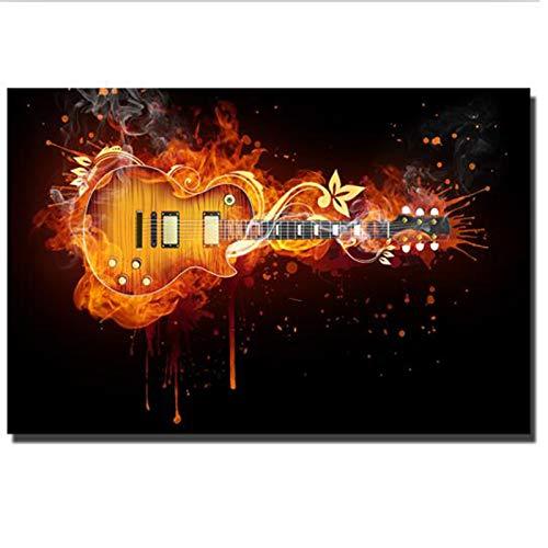 NGHSDO Cuadros Decoracion Guitarra eléctrica Pintura al óleo Lienzo Abstracto Guitarra Carteles...