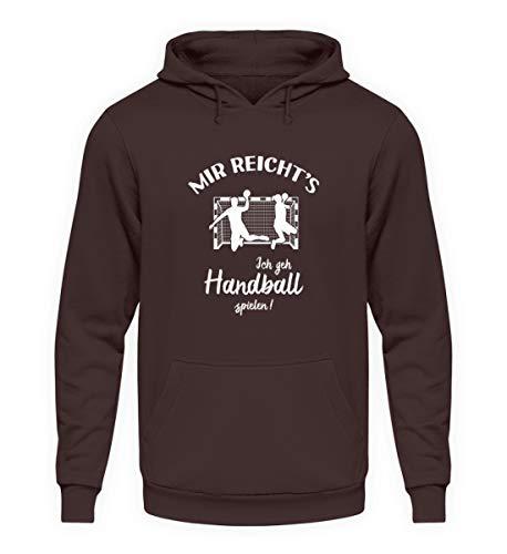 shirt-o-magic Handballer: Ich GEH Handball Spielen! - Unisex Kapuzenpullover Hoodie -XXL-Schokolade