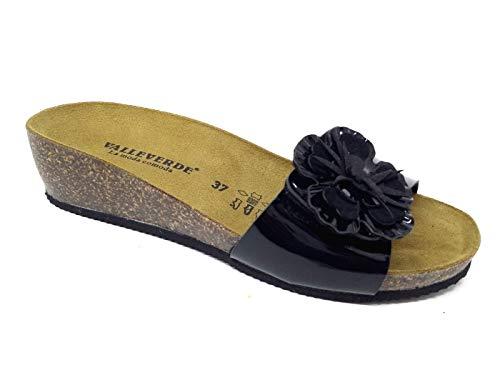 Valleverde Ciabatta Donna camoscio G51209 Nero Una Calzatura Comoda Adatta per Tutte Le Occasioni. Primavera Estate 2020. EU 38