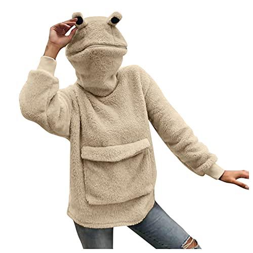 feftops Jersey Mujer con Capucha de Diseño Rana Bonito con Tridimensional Costura Cálido Abrigo Bolsillos Lana Artificial Prendas de Vestir Suelto Casual-898