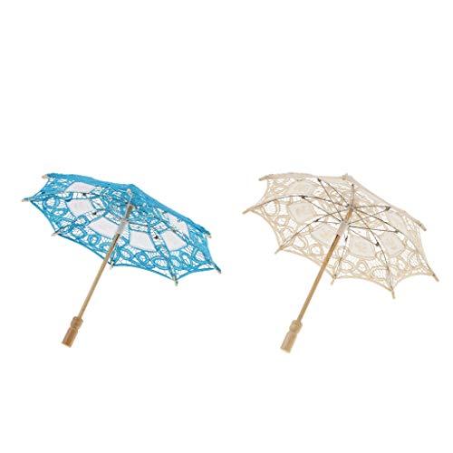 Sharplace 2pcs Dentelle Parapluie Floral Artisanal Style Oriental Parasol Elégant Romantique Accessoires de Mariage Photo
