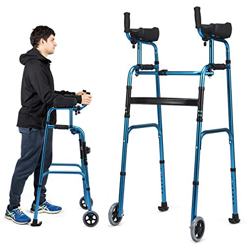 Goplus Foldable Standard Walker, Lightweight Aluminum Alloy Wheel Rehabilitation Auxiliary Walking Frame with Arm Rest Pad and Wheels, Height Adjustable Elderly Walking Mobility Aid (Blue + Black)