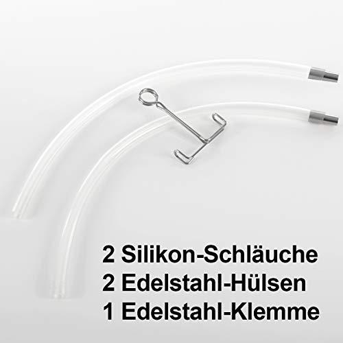 2 Stück Gräfenstayn® Dampfentsafter Silikon-Ersatzschlauch Abfüllgarnitur - Doppelpack im Set - lebensmittelecht und temperaturbeständig