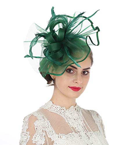 Lucky Leaf Girl Lady Hat Headwear Organza Church Feather Clip Fascinators Hat Wedding Party Kentucky Derby Cap for Women (5-Dark Green)